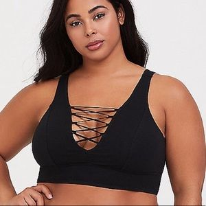 🆕Black Cotton Lattice Front Bralette
